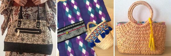 浴衣や着物に合わせるバッグの例